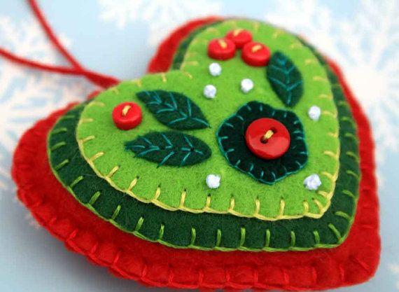 Ornamento di Natale ornamento di Natale di cuore rosso &