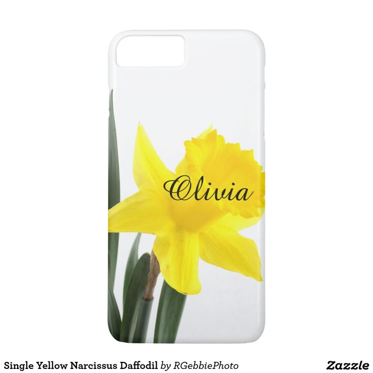 Single Yellow Narcissus Daffodil iPhone 7 Plus Case - $52.95 - Single Yellow Narcissus Daffodil iPhone 7 Plus Case - by #RGebbiePhoto @ #zazzle - #Daffodil #Yellow #Flower - A vibrant yellow narcissus daffodil over white. Personalize this line with customizable text! Add Your Name to customize! Symbolizing rebirth and new beginnings, the daffodil is virtually synonymous with spring.