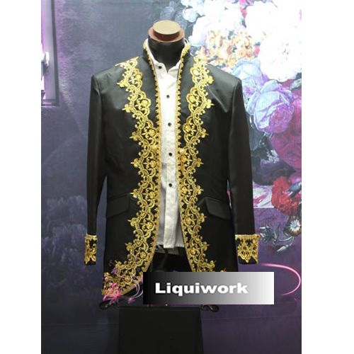 Best Men Black Gold Vintage Style Wedding Prom Dress Suits Tuxedos Tux SKU-123190