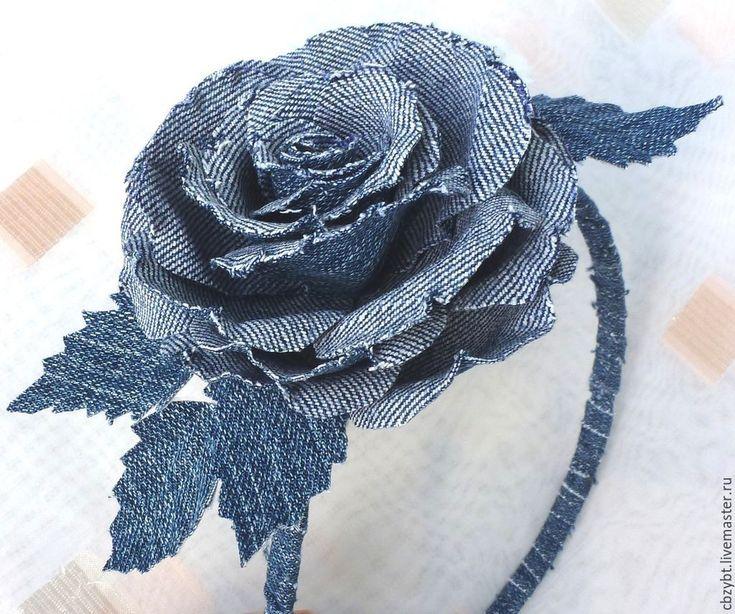 Купить Ободок с розой из джинсы. Цветы из ткани. - синий, джинсовый стиль, джинсовый цвет
