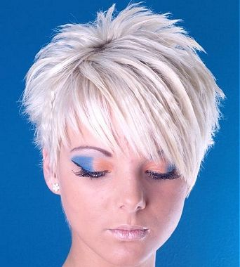 A short blonde straight spikey choppy coloured Layered platinum matt-look Womens haircut hairstyle by Nathan Guy