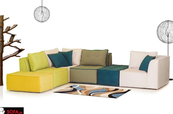 Πολύχρωμος καναπές με αμφίπλευρη τοποθέτηση και 2 σκαμπό http://www.sofa.gr/epiplo/goniakos-kanapes-carrera   Colourful sofa 6 pieces