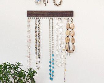 prata e noz racks de exibição marrom colar de madeira - conjunto de três