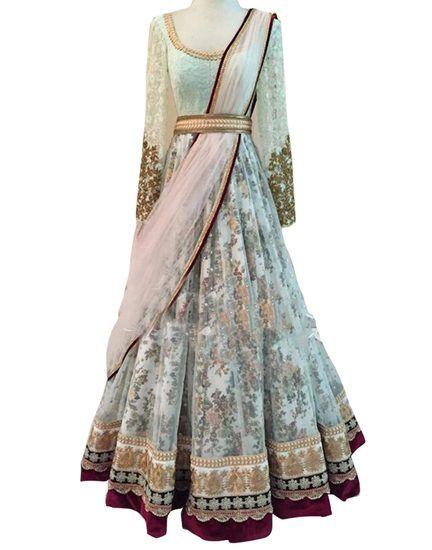 Buy WHITE NET SELF DESIGNED ANARKALI GOWN Online India - 5445053
