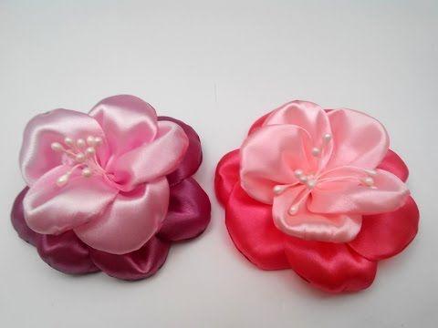 DIY Kanzashi flowers in satin ribbons - flores copos de rubí en cintas - YouTube