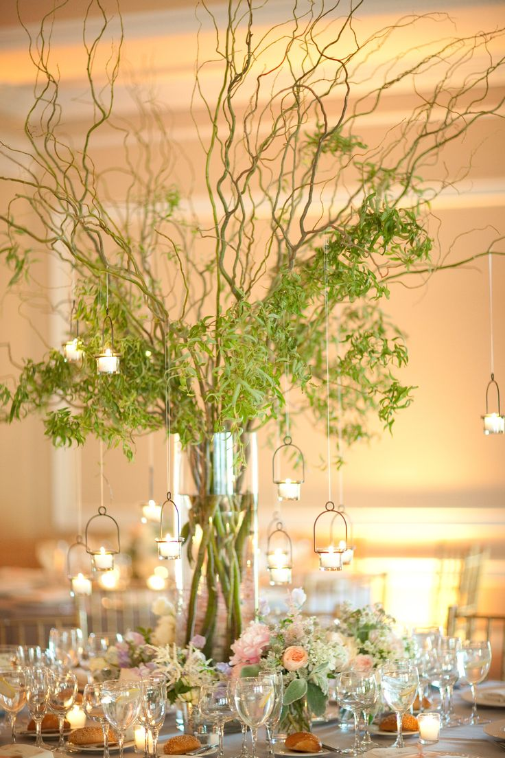 Vine Centerpieces With Hanging Votive Candles Caroline