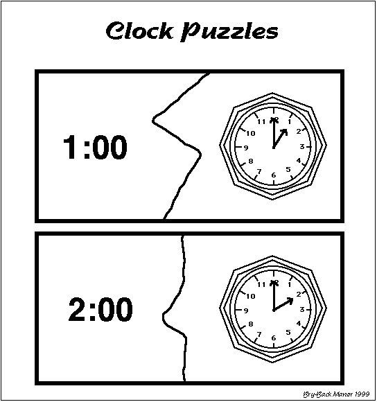 free printable simple clock puzzles telling time activity free autism special education. Black Bedroom Furniture Sets. Home Design Ideas