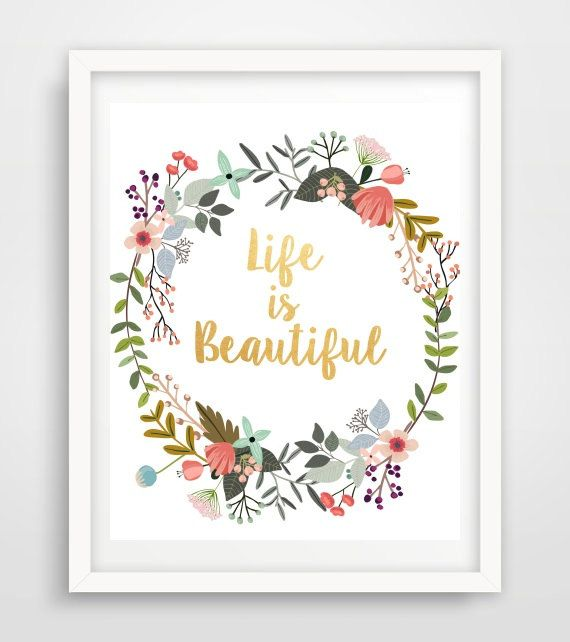 Word Art Life Is Beautiful Typography Quote by PaperStormPrints