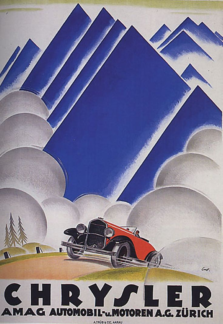 1920s French poster promoting Chrysler in Europe