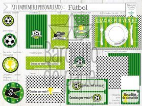 Kit Imprimible Personalizado + Candy Bar Futbol Completo - $ 210,00