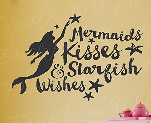 Amazon.com - Mermaids Kisses And Starfish Wishes - Little Mermaid Walt Disney Girls Kids Ocean Sea Beach - Vinyl Decal Wall Decor Letter Art Quote Sticker inspirational Saying Lettering Decoration -