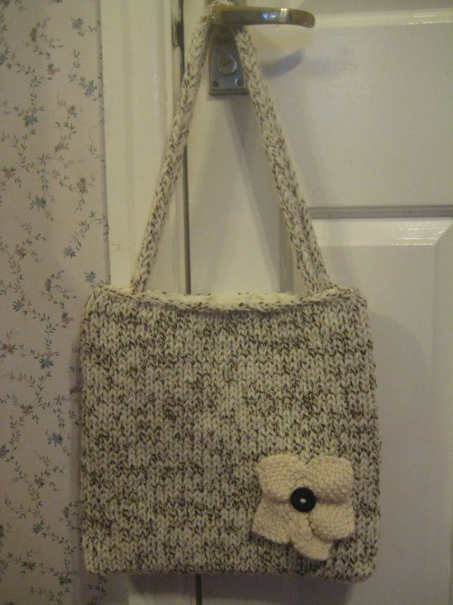 Hand Knitted Cream and Brown Tote Bag £9.00