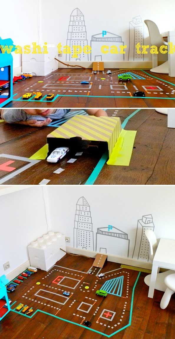 Colored washi tapes can be used to create a car track.