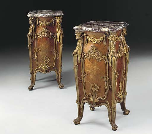 An important pair of Louis XV style ormolu-mounted…