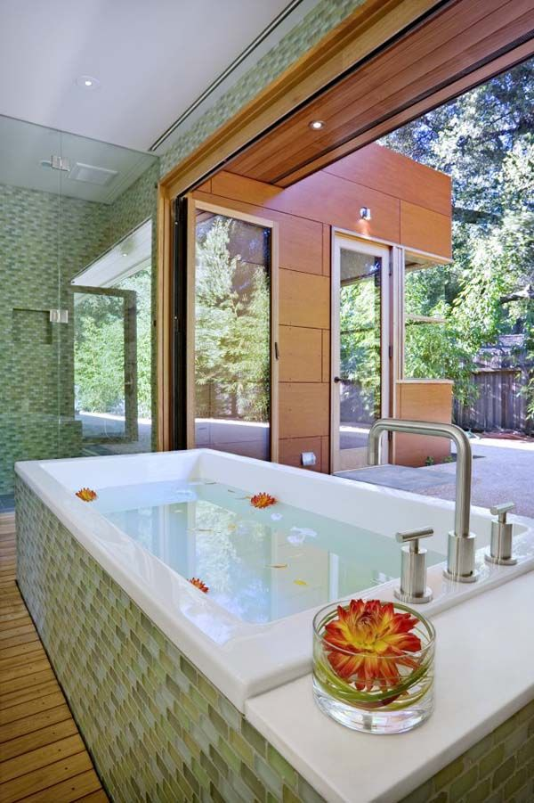 Well I guess the one thing Menlo/Palo Alto etc got right was bathrooms: Warm and contemporary Menlo Park retreat.