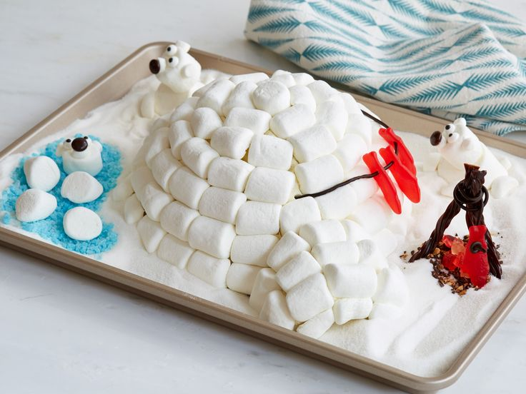 Marshmallow Igloo Cake with Polar Friends