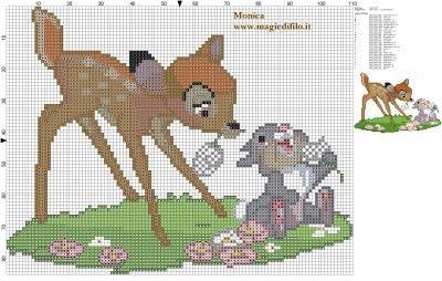 Schema punto croce Bambi e Tamburino 110x86 28 colori.jpg