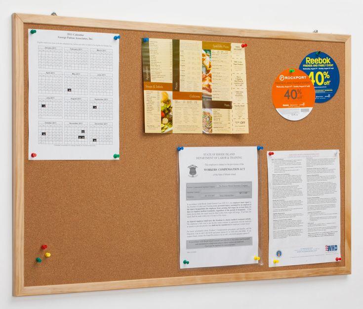 34 x 22 cork bulletin board for wall mount use pinewood