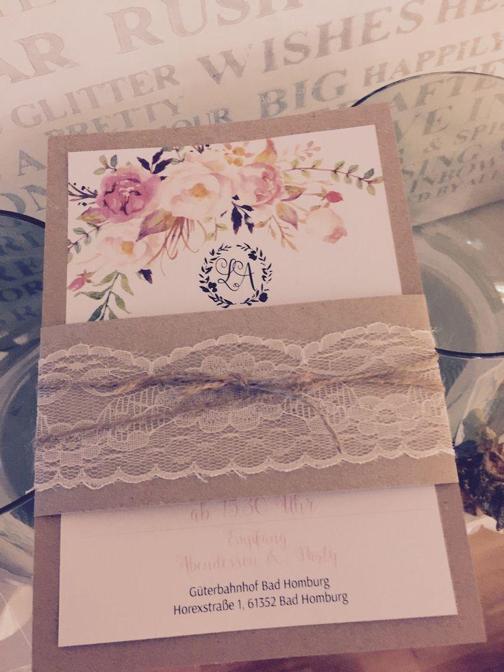 Schön Einladungskarten Hochzeit Vintage Mit Aquarell Blumen , Watercolor, Kordel,  Spitzenband Und Kraft Papier