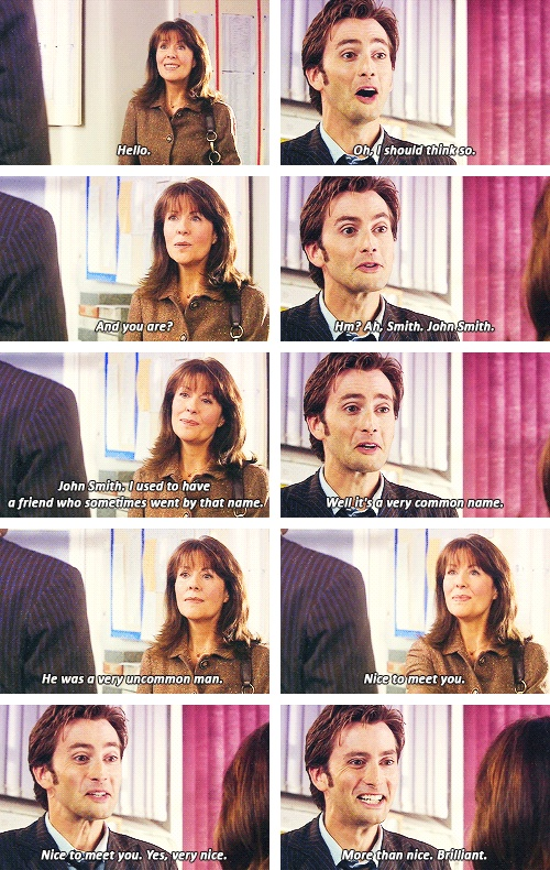I may not have grown up watching Classic Who (of course I do now), but I'll always appreciate how excited Ten got when he ran into  Sarah Jane Smith. It later made me realize that no matter how long or how they were separated, the Doctor always remembers his friends.