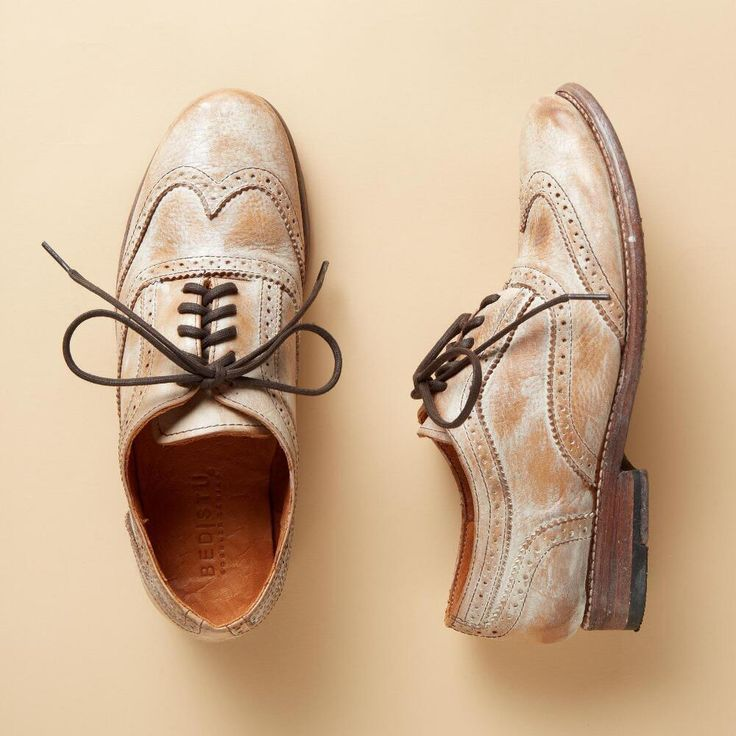 "CHANNING OXFORD SHOES -- Hand finished with a wash of color, these Oxfords take a post-modern spin on a classic look. Each pair varies slightly due to their handmade nature. By BedStü. Imported. Whole and half sizes 6 to 10, 11. 1"" heel."