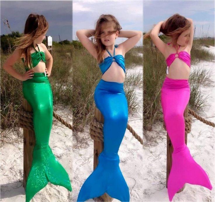 Kids Girls Gilding Mermaid Tail Costume Swimwear Bikini Swimsuit Outfit 3pcs Set #Unbranded #Swimsuit