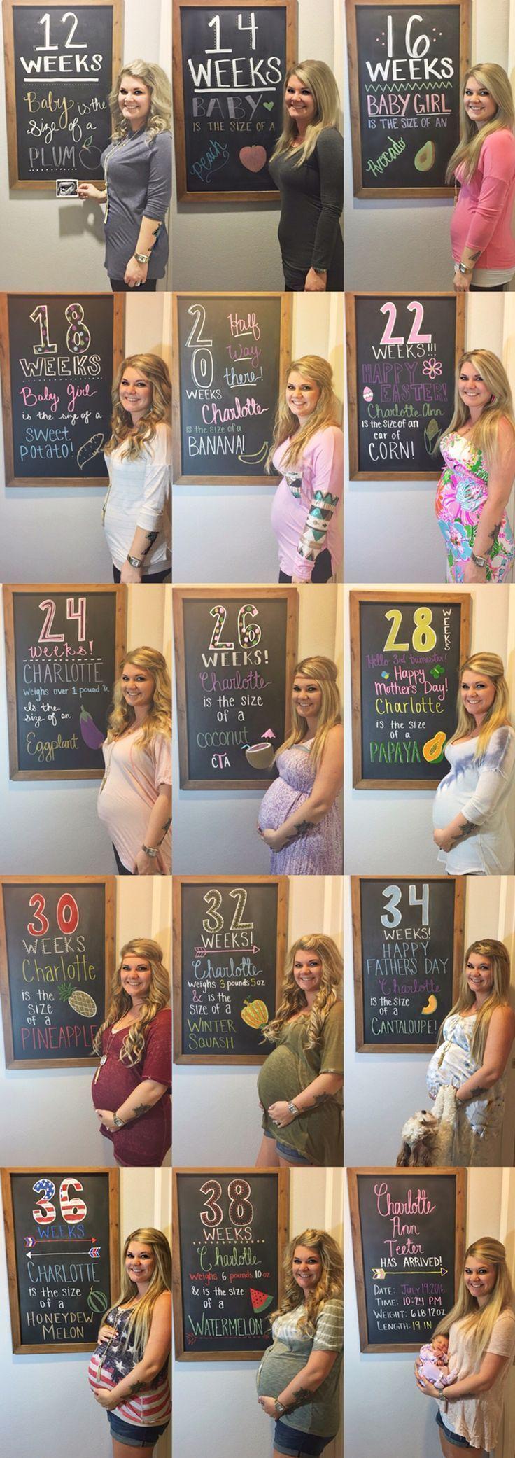 Weekly pregnancy chalkboard tracker, baby bump progress
