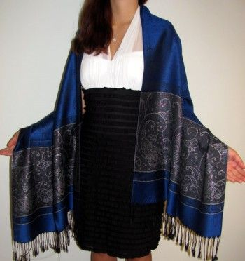 """This is a beautiful high top quality pashmina #silk #shawl at #YoursElegantly #online #sale. It is well designed and very #soft to touch. We try our best to provide you the most reliable, #affordable and unique #wool #pashmina #shawls and #wraps. It would look great with either formal #clothing or jeans and #tunic.  Size: 28"""" x 76"""" Price: $32.00"""