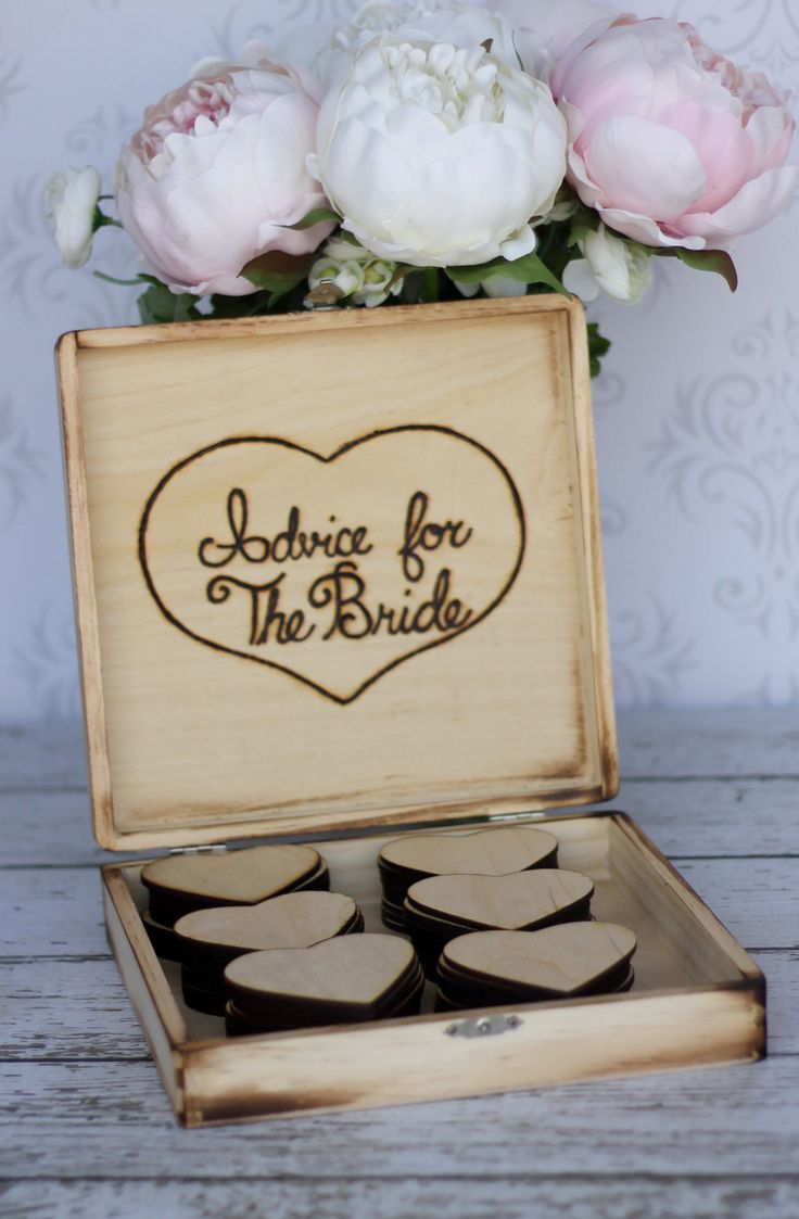 Bridal Shower Guest Book Rustic Wedding Advice Box Shabby Chic Decor (item E10078). $49.99, via Etsy.