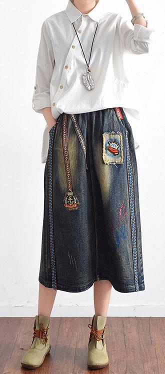 2017 summer denim skirts women cotton a line casual skirts