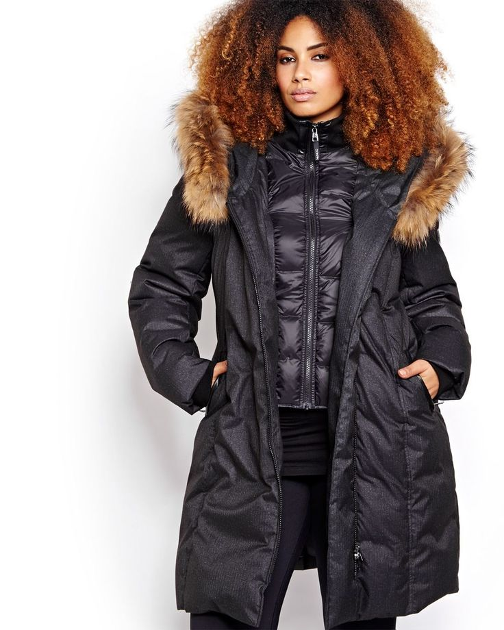 Keep warm and trendy this winter with this plus size down coat by Ookpik. It features two zippers for maximum heat retention. The exterior zipper is asymmetrical and the hood has a fur trim. 37 inch length.