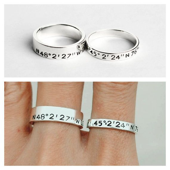 These custom coordinates rings are great, unique, personalized gifts ideas for long distance relationship couples.