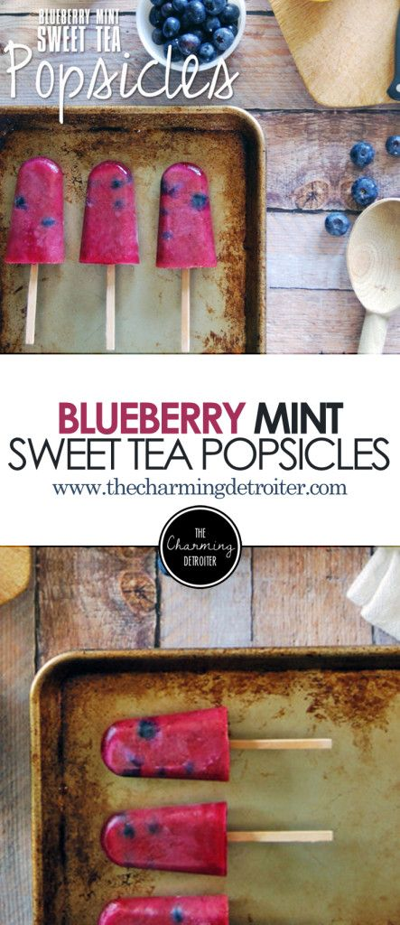 Blueberry Mint Sweet Tea Popsicles: A deliciously refreshing popsicle recipe made from sweet tea, blueberry juice, and mint, with whole blueberries included for a sweet surprise!