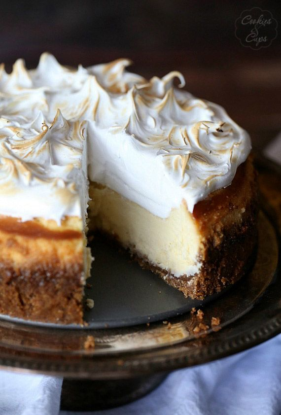 Lemon Meringue Cheesecake..a light lemon chessecake topped with creamy meringue!  If you want a more decadent flavor substitute chocolate wafer cookies for the graham crackers.  Prepare per the recipe.