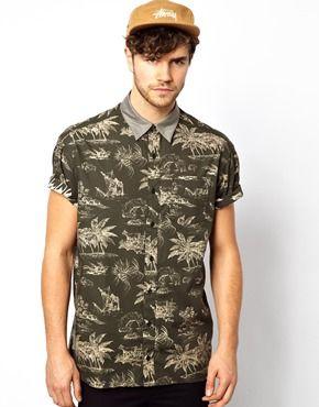 Image 1 ofLevis Line 8 Shirt Short Sleeve Oversized Black Hawaiian Print