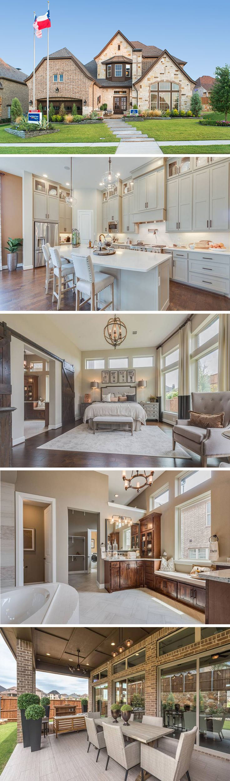 The Gabriel by David Weekley Homes in Fairway Ranch is a 4 bedroom home that features an open kitchen and family room, large wooden ceiling beams and a sizable owners retreat. Custom home features include an outdoor living space, an extra media room and a guest suite.