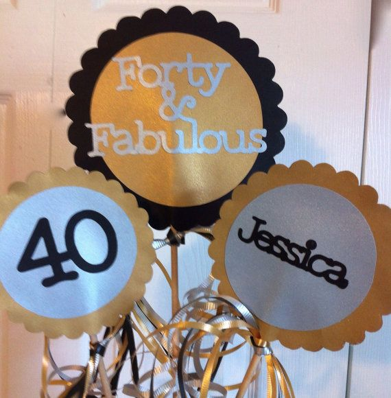 40th Birthday Decorations  3 piece Centerpiece Sign Set with  Personalized Text on Etsy, $24.75