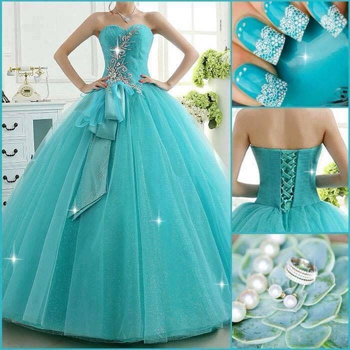 cute teal dress amp teal with white nails quinceanera