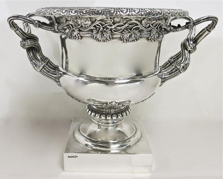 Magnificent, Antique English, Sterling Silver Wine Cooler After The Style Of The Warwick Vase. For Sale At www.EstateSilver.com