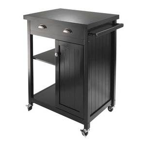 Winsome Wood Timber Kitchen Cart with Wainscot panel