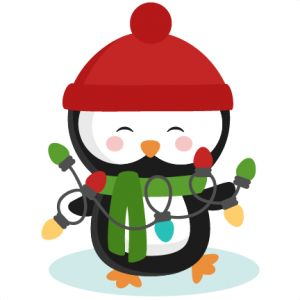 Daily Freebie Miss Kate Cuttables Penguin With Christmas Lights SVG Cutting Files For Scrapbooking Winter Cut Cricut Cute Svg Cuts Free