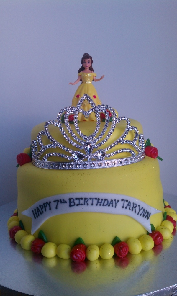Belle Cake, love the tiara!! I know a little girl who would love this!!!