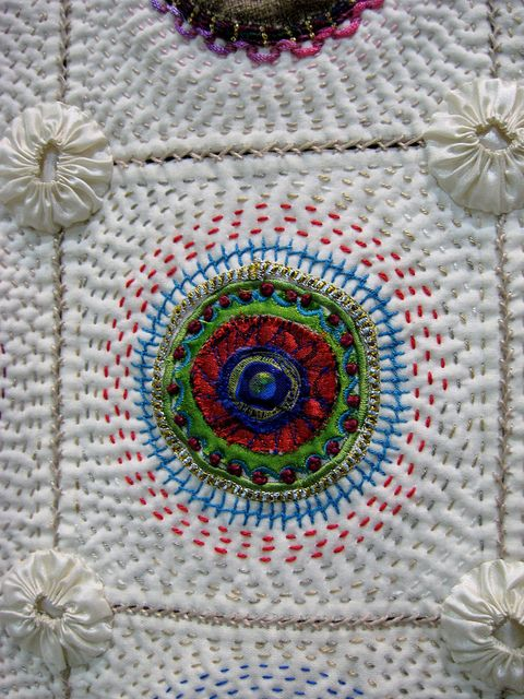 Griet Lombard - Block-A-Day Therapy, hand quilting and embroidery, photo by Jackie Kirner.