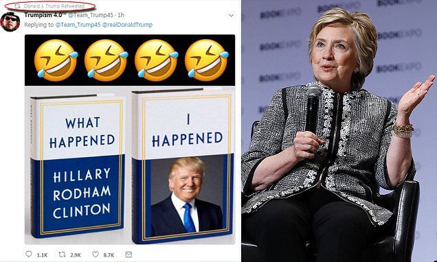 Just hours after returning to Washington, DC from flood-ravaged regions of Texas and Louisiana, President Donald Trump retweeted a meme poking fun at Hillary Clinton's new memoir.