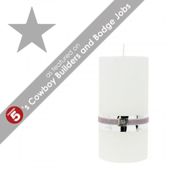 RUSTIC Extra Large White Pillar Candle *AS FEATURED ON CHANNEL 5's COWBOY BUILDERS & BODGE JOBS*