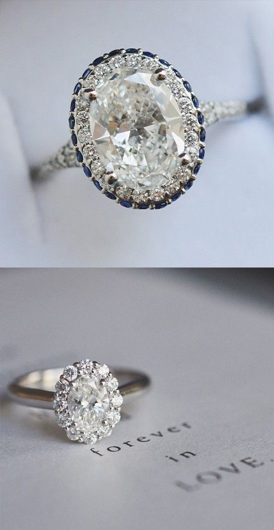 Loving these oval cut engagement rings.