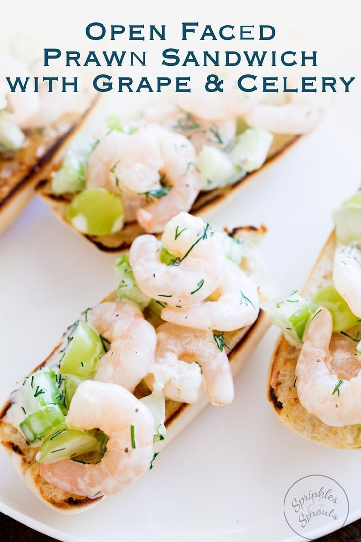 Juicy prawns with the crunch of celery and sweetness grapes all bound in a creamy dill flavoured dressing. This Open Faced Prawn Sandwich with Grape and Celery is perfect entertaining food. Simple to make and oh so dreamy delicious! From www.sprinklesandsprouts.com.au/open-faced-prawn-sandwich-with-grape-and-celery