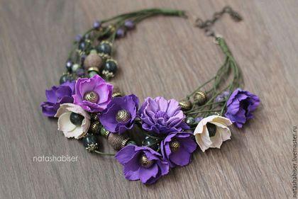 Колье, бусы ручной работы. Ярмарка Мастеров - ручная работа. Купить Колье с цветами из фоамирана и бусинами, зеленый фиолетовый пурпурный. Handmade.