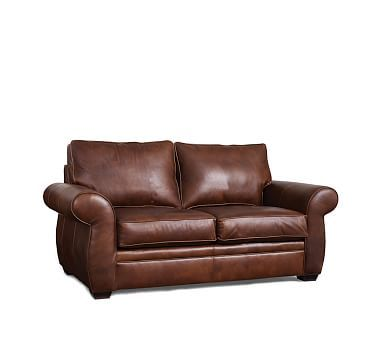 Pearce Upholstered Love Seat, Down Blend Wrapped Cushions, Polyester Wrapped Cushions, Leather Cognac