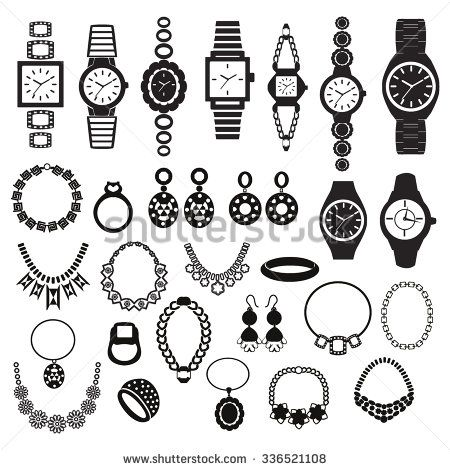 Vector black silhouette icons set with fashion watches and jewelry illustration